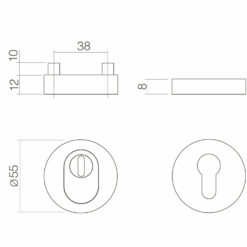 Intersteel Veiligheidsrozet SKG3 rond Cilinderbescherming INOX geborsteld - Technische tekening