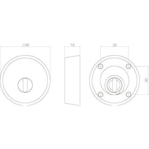 Intersteel Veiligheidsrozet SKG3 voor oplegsloten met Cilinderbescherming INOX geborsteld - Technische tekening