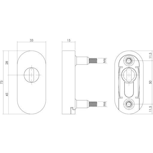 Intersteel Veiligheidsschuifrozet met Cilinderbescherming voor profieldeuren INOX geborsteld - Technische tekening