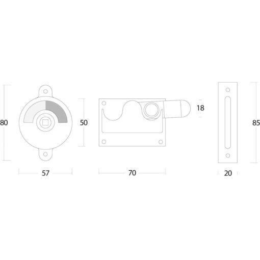 Intersteel WC-overslag met bocht chroom - Technische tekening