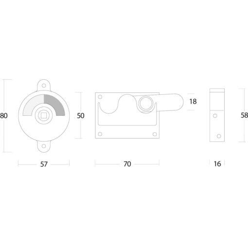 Intersteel WC-overslag vlak nikkel mat - Technische tekening
