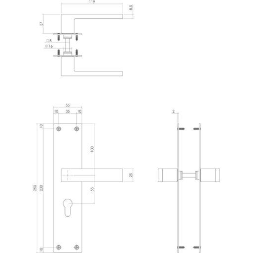 Intersteel deurklink Amsterdam op schild profielcilinder 55 mm mat zwart - Technische tekening