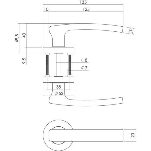 Intersteel deurklink Blok op rozet chroom - Technische tekening