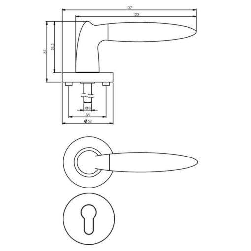 Intersteel deurklink Elen op rozet profielcilindergat chroom - Technische tekening