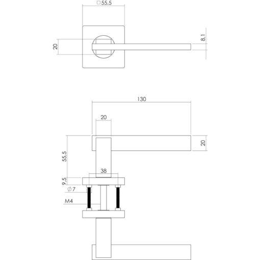 Intersteel deurklink Jim op vierkant rozet chroom - Technische tekening