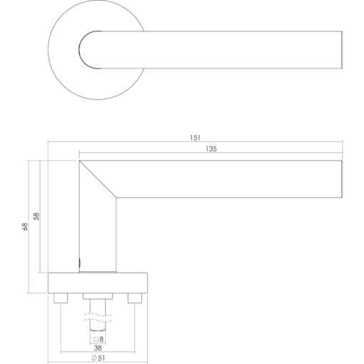 Intersteel deurklink L-hoek met rozet INOX geborsteld - Technische tekening