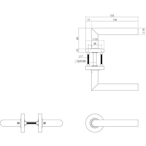Intersteel deurklink L-hoek op rond rozet INOX geborsteld - Technische tekening