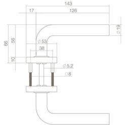 Intersteel deurklink Luzern op rozet mat zwart - Technische tekening