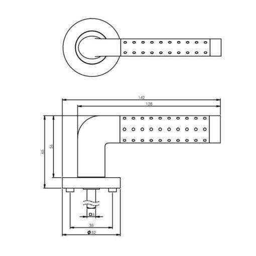 Intersteel deurklink Marion op rozet chroom - Technische tekening