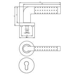 Intersteel deurklink Marion op rozet profielcilindergat chroom - Technische tekening