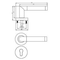 Intersteel deurklink Nicol rozet profielcilindergat chroom - Technische tekening