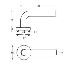 Intersteel deurklink Prestige op rozet INOX geborsteld - Technische tekening