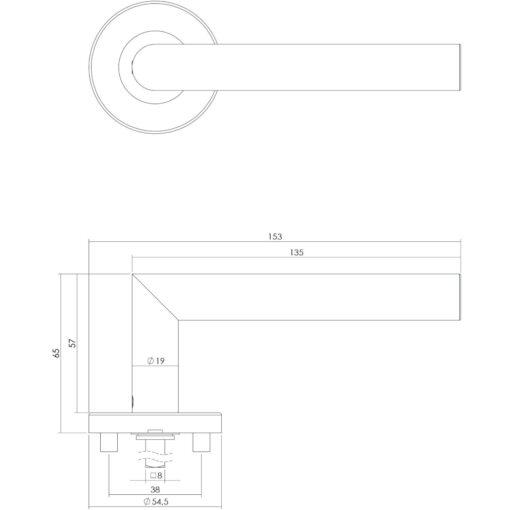 Intersteel deurklink Recht L-hoek op rond EN1906/4 rozet INOX geborsteld - Technische tekening