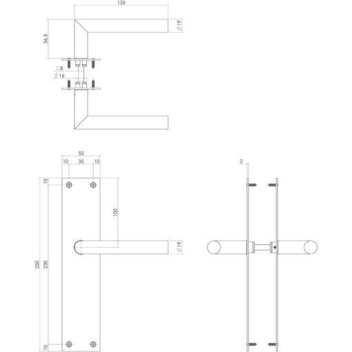 Intersteel deurklink Rhenen op blind schild mat zwart - Technische tekening