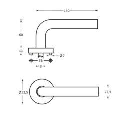 Intersteel deurklink Sensation op rozet INOX geborsteld - Technische tekening