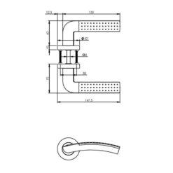 Intersteel deurklink Sharon op rozet chroom - Technische tekening