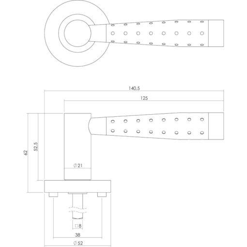 Intersteel deurklink Viki op rozet chroom - Technische tekening