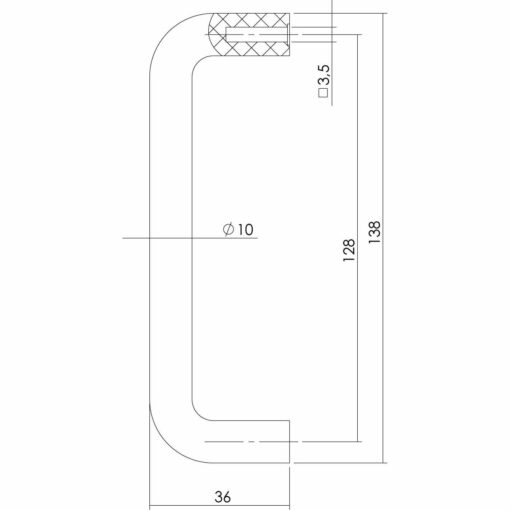 Intersteel kasttrekker 138 mm - boormaat 128 mm - Technische tekening