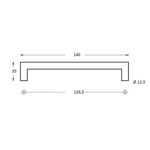 Intersteel kasttrekker 140 mm INOX geborsteld - Technische tekening