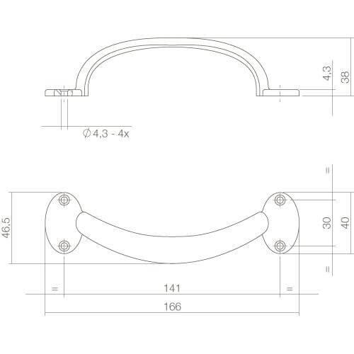 Intersteel kasttrekker 165 mm chroom - Technische tekening