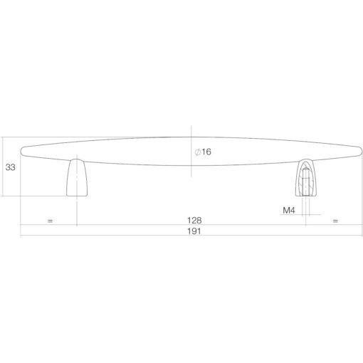 Intersteel kasttrekker 191 mm nikkel mat - Technische tekening