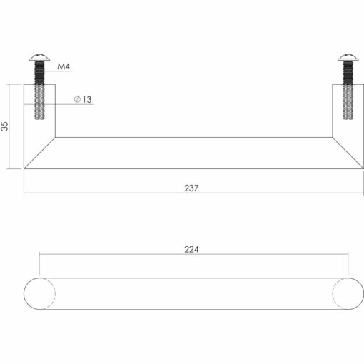 Intersteel kasttrekker 237 mm INOX geborsteld - Technische tekening