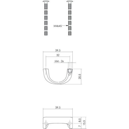 Intersteel kasttrekker 40 mm chroom mat - Technische tekening