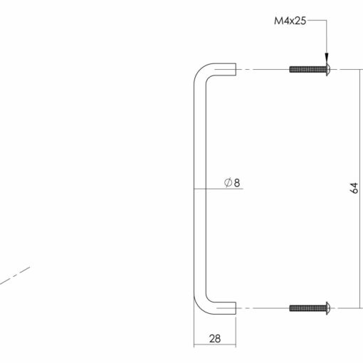 Intersteel kasttrekker 72 mm INOX geborsteld - Technische tekening