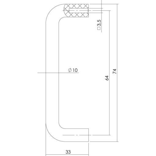 Intersteel kasttrekker 74 mm zwart - Technische tekening