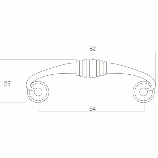 Intersteel kasttrekker 82 mm oud grijs - Technische tekening