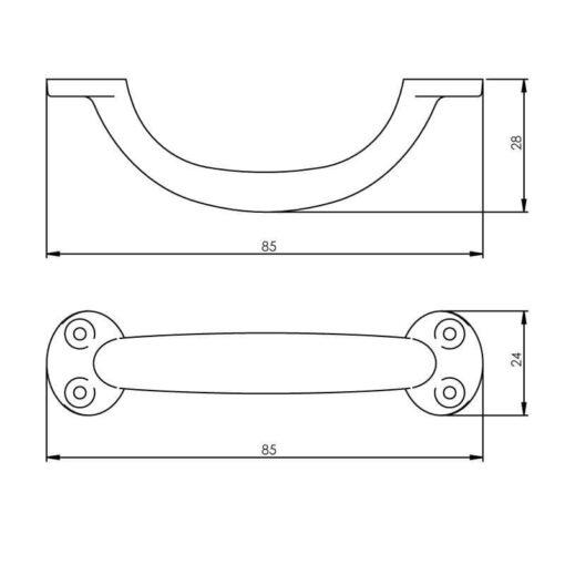 Intersteel kasttrekker 85 mm mat zwart - Technische tekening