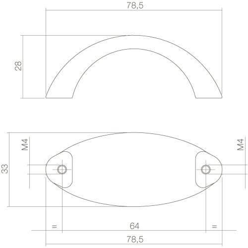 Intersteel kasttrekker Ellips breed 79 mm mat zwart - Technische tekening