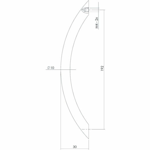 Intersteel kasttrekker Gebogen 206 mm nikkel mat - Technische tekening
