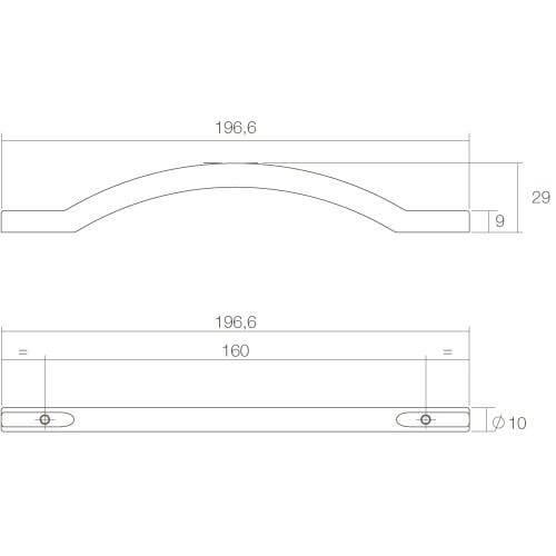 Intersteel kasttrekker Gebogen opliggend 197 mm mat zwart - Technische tekening