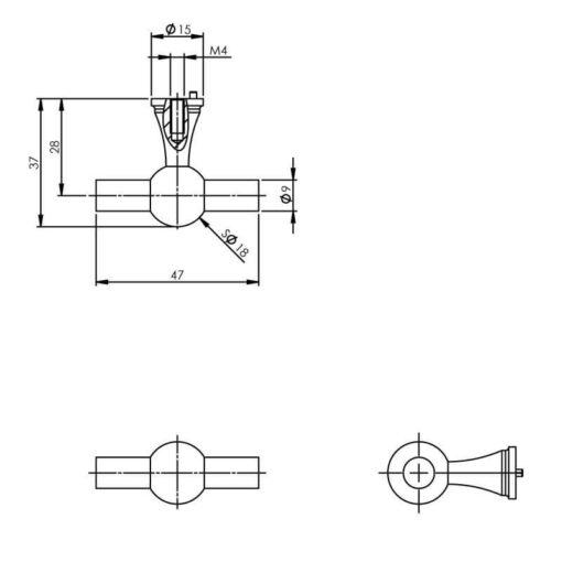 Intersteel kasttrekker INOX geborsteld - Technische tekening