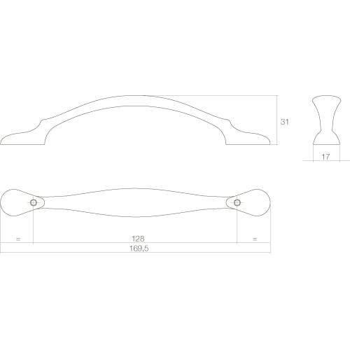 Intersteel kasttrekker Mats 170 mm mat zwart - Technische tekening