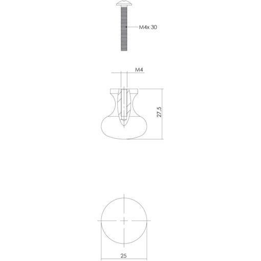 Intersteel kasttrekker Paddenstoel diameter 25 mm smeedijzer grijs - Technische tekening