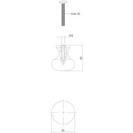 Intersteel kasttrekker Paddenstoel diameter 30 mm smeedijzer grijs - Technische tekening