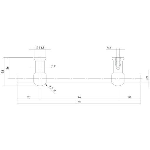 Intersteel kasttrekker T-vorm 152 mm - boormaat 96 mm INOX geborsteld - Technische tekening