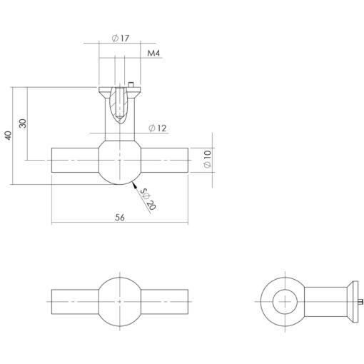 Intersteel kasttrekker T-vorm 20mm recht INOX geborsteld - Technische tekening