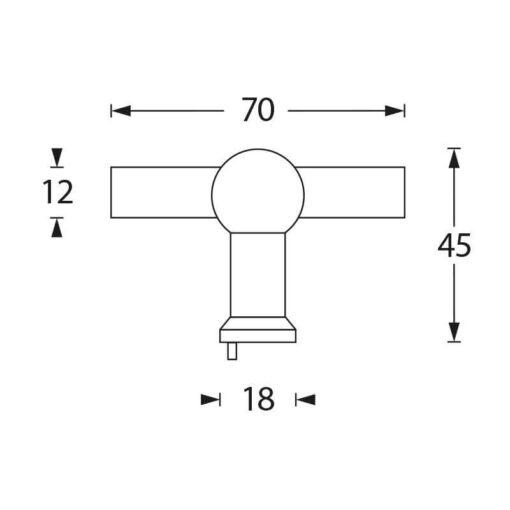 Intersteel kasttrekker T-vorm 22 mm recht INOX geborsteld - Technische tekening