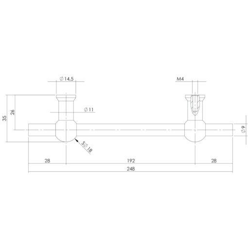 Intersteel kasttrekker T-vorm 248 mm - boormaat 192 mm INOX geborsteld - Technische tekening