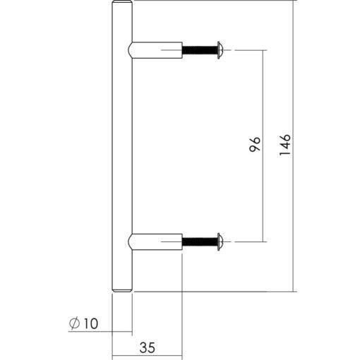 Intersteel kasttrekker diameter 10 mm, lengte 146 mm INOX geborsteld - Technische tekening
