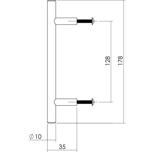Intersteel kasttrekker diameter 10 mm, lengte 178 mm INOX geborsteld - Technische tekening