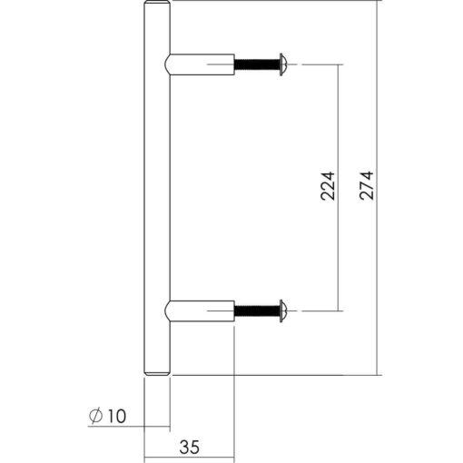 Intersteel kasttrekker diameter 10 mm, lengte 274 mm INOX geborsteld - Technische tekening