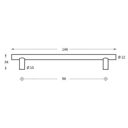 Intersteel kasttrekker diameter 12 mm, lengte 146 mm INOX geborsteld - Technische tekening