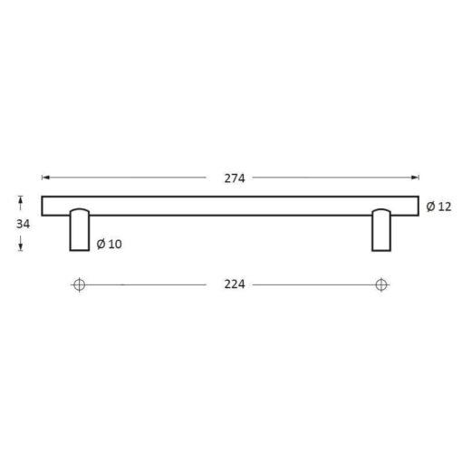 Intersteel kasttrekker diameter 12 mm, lengte 274 mm INOX geborsteld - Technische tekening