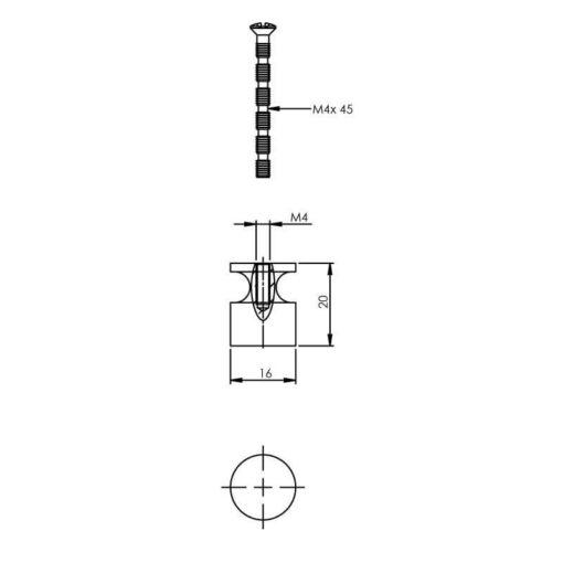 Intersteel kasttrekker diameter 16 mm nikkel mat - Technische tekening