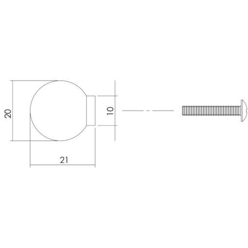 Intersteel kasttrekker diameter 20 mm INOX geborsteld - Technische tekening