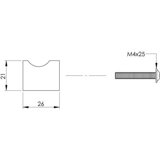 Intersteel kasttrekker diameter 21 mm INOX geborsteld - Technische tekening